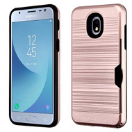 Airium Brushed Hybrid Protector Cover(with Card Wallet) for Samsung J337 (Galaxy J3 (2018)) - Rose Gold / Black