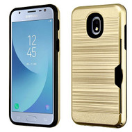 Airium Brushed Hybrid Protector Cover (with Card Wallet) for Samsung J337 (Galaxy J3 (2018)) - Gold / Black