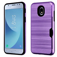 Airium Brushed Hybrid Protector Cover(with Card Wallet) for Samsung J337 (Galaxy J3 (2018)) - Dark Purple / Black