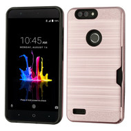 Airium Brushed Hybrid Protector Case(with Card Wallet) for Zte Sequoia - Rose Gold / Black
