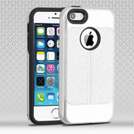 Airium Hybrid Protector Cover for Apple iPhone 5s/5 - Silver Leather Texture / Black