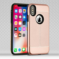 Airium Hybrid Protector Cover for Apple iPhone XS/X - Rose Gold Leather Texture / Black