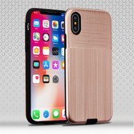 Airium Hybrid Protector Cover for Apple iPhone XS/X - Rose Gold Woven & Brushed / Black