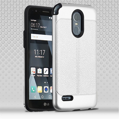 Airium Hybrid Protector Cover for Lg Stylo 3 Plus - Silver Leather Texture / Black