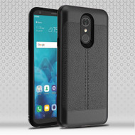 Airium Hybrid Protector Cover for Lg Stylo 4 - Black Leather Texture / Black