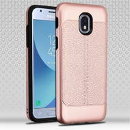Airium Hybrid Protector Cover for Samsung J337 (Galaxy J3 (2018)) - Rose Gold Leather Texture / Black