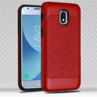 Airium Hybrid Protector Cover for Samsung J337 (Galaxy J3 (2018)) - Red Leather Texture / Black