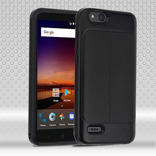 Airium Hybrid Protector Cover for Zte Fanfare 3 - Black Leather Texture / Black