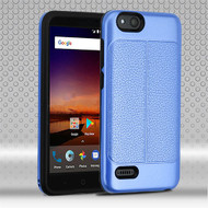 Airium Hybrid Protector Cover for Zte Fanfare 3 - Dark Blue Leather Texture / Black