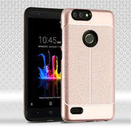Airium Hybrid Protector Cover for Zte Sequoia - Rose Gold Leather Texture / Black