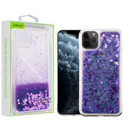 Airium Quicksand Glitter Hybrid Protector Cover for Apple iPhone 11 Pro - Hearts & Purple