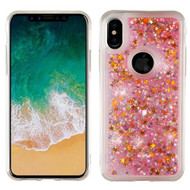 Airium Quicksand Glitter Hybrid Protector Cover for Apple iPhone XS/X - Stars & Pink
