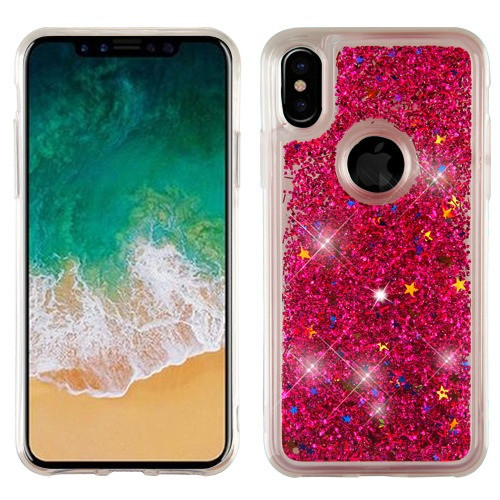 Airium Quicksand Glitter Hybrid Protector Cover for Apple iPhone XS/X - Hot Pink