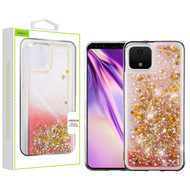 Airium Quicksand Glitter Hybrid Protector Cover for Google Pixel 4 XL - Stars & Pink