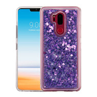 Airium Quicksand Glitter Hybrid Protector Cover for Lg G710 (G7 Thinq) - Hearts & Purple