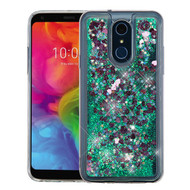 Airium Quicksand Glitter Hybrid Protector Cover for Lg Q7+ - Hearts & Green