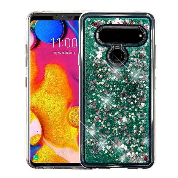 Airium Quicksand Glitter Hybrid Protector Cover for Lg V40 ThinQ - Hearts & Green
