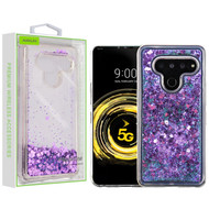 Airium Quicksand Glitter Hybrid Protector Cover for Lg V50 ThinQ - Hearts & Purple