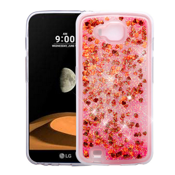 Airium Quicksand Glitter Hybrid Protector Cover for Lg V9 (X Calibur) - Hearts & Red