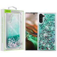 Airium Quicksand Glitter Hybrid Protector Cover for Samsung Galaxy Note 10 (6.3) - Hearts & Green