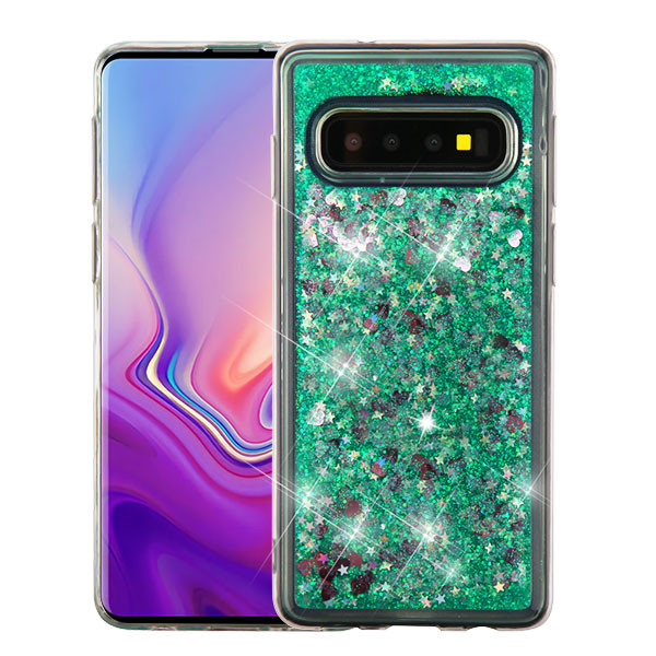 Airium Quicksand Glitter Hybrid Protector Cover for Samsung Galaxy S10 - Hearts & Green