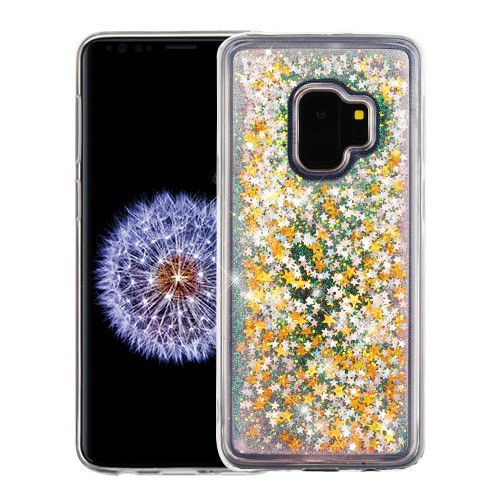 Airium Quicksand Glitter Hybrid Protector Cover for Samsung Galaxy S9 - Stars & Pink