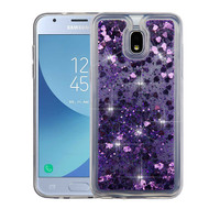 Airium Quicksand Glitter Hybrid Protector Cover for Samsung J337 (Galaxy J3 (2018)) - Hearts & Purple
