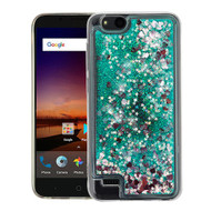 Airium Quicksand Glitter Hybrid Protector Cover for Zte Fanfare 3 - Hearts & Green