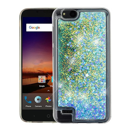 Airium Quicksand Glitter Hybrid Protector Cover for Zte Fanfare 3 - Hearts & Blue