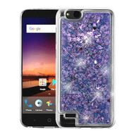 Airium Quicksand Glitter Hybrid Protector Cover for Zte N9137 (Tempo X) - Hearts & Purple