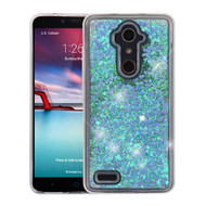 Airium Quicksand Glitter Hybrid Protector Cover for Zte Z981 (Zmax Pro) - Hearts & Blue