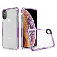 Airium Bumper Sturdy Candy Skin Cover for Apple iPhone XS Max - Transparent Clear / Purple