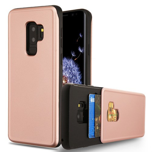 Airium Wallet Hybrid Protector Cover (with Double Card Holder) for Samsung Galaxy S9 Plus - Rose Gold / Black