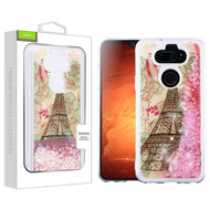 Airium Quicksand Glitter Hybrid Protector Cover for Lg K31 (Aristo 5)/Fortune 3 - Eiffel Tower & Pink Hearts