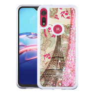Airium Quicksand Glitter Hybrid Protector Cover for Motorola Moto E (2020) - Eiffel Tower & Pink Hearts