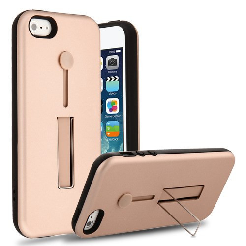 Airium Finger Grip Hybrid Protector Cover (with Silicone Strap & Metal Stand) for Apple iPhone 5s/5 - Rose Gold / Black