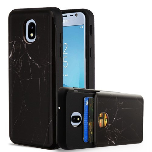 Airium Wallet Hybrid Protector Cover (with Double Card Holder) for Samsung J337 (Galaxy J3 (2018)) - Black Marbling / Black