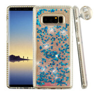 Airium Glitter Hybrid Protector Cover for Samsung Galaxy Note 8 - Diamante Frame (Transparent Clear) / Quicksand (Dark Blue Hearts)