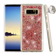 Airium Quicksand Glitter Hybrid Protector Cover for Samsung Galaxy Note 8 - Diamante Frame (Transparent Clear) / Rose Gold Confetti