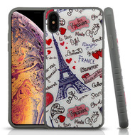Airium Fusion Protector Cover for Apple iPhone XS Max - Eiffel Tower Love Gel / Iron Gray Glitter