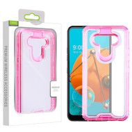 Airium Hybrid Protector Cover for Lg K51 - Transparent Pink / Transparent Clear