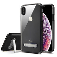 Airium Hybrid Protector Cover (with Magnetic Metal Stand) for Apple iPhone XS Max - Black / Transparent Clear