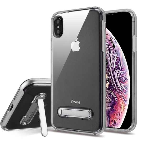 Airium Hybrid Protector Cover (with Magnetic Metal Stand) for Apple iPhone XS Max - Silver / Transparent Clear