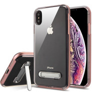 Airium Hybrid Protector Cover (with Magnetic Metal Stand) for Apple iPhone XS Max - Rose Gold / Transparent Clear
