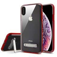 Airium Hybrid Protector Cover (with Magnetic Metal Stand) for Apple iPhone XS Max - Red / Transparent Clear