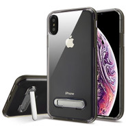Airium Hybrid Protector Cover (with Magnetic Metal Stand) for Apple iPhone XS Max - Dark Grey / Transparent Clear