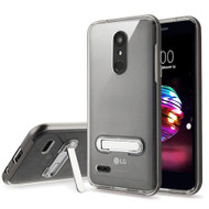 Airium Hybrid Protector Cover (with Magnetic Metal Stand) for Lg L413DL (Premier Pro) - Dark Grey / Transparent Clear