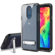 Airium Hybrid Protector Cover (with Magnetic Metal Stand) for Lg Q7+ - Black / Transparent Clear