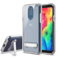 Airium Hybrid Protector Cover (with Magnetic Metal Stand) for Lg Q7+ - Silver / Transparent Clear
