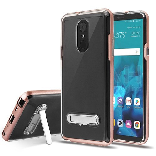 Airium Hybrid Protector Cover (with Magnetic Metal Stand) for Lg Stylo 4 - Rose Gold / Transparent Clear